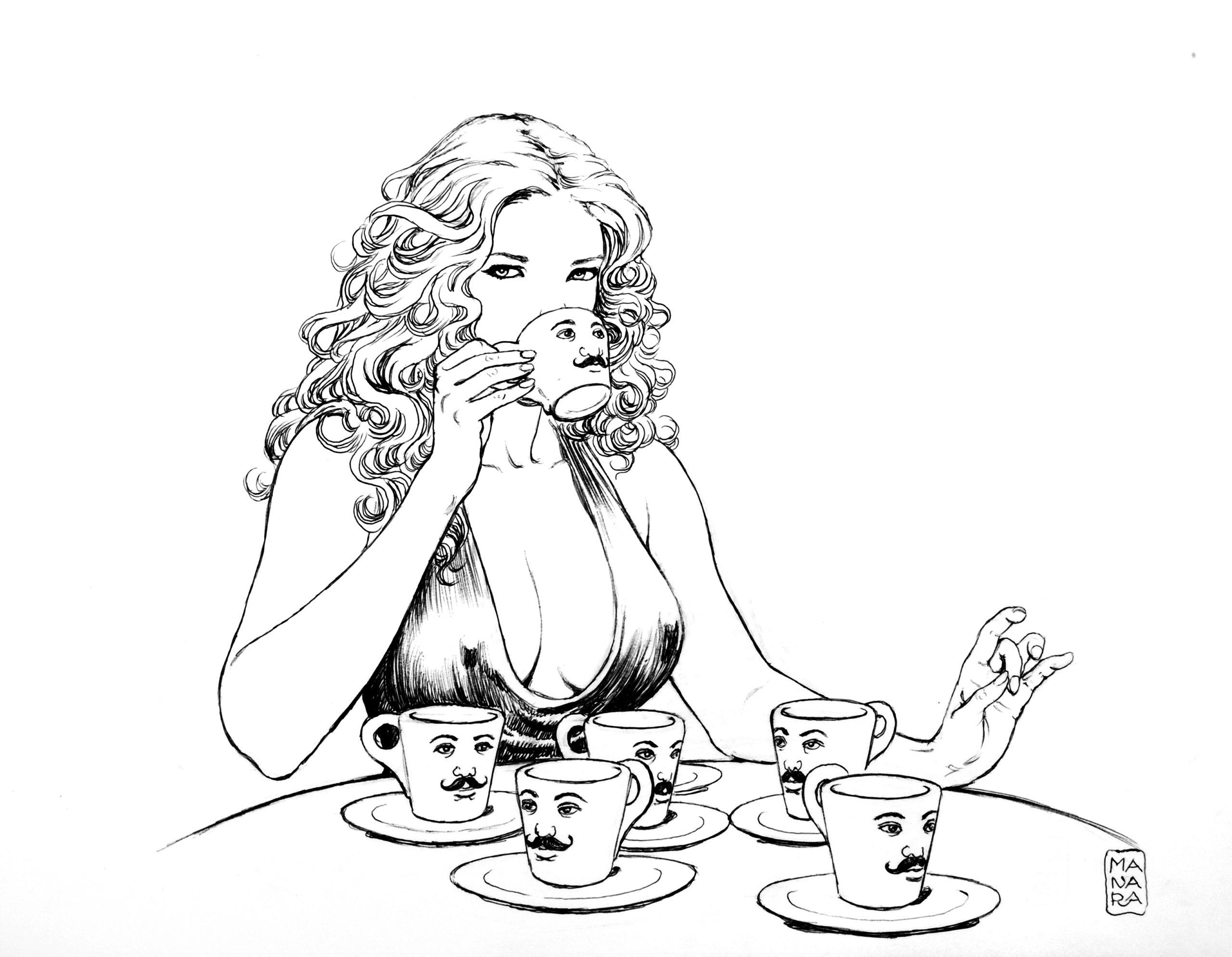 Manara Lavazza. Caffè coi baffi.